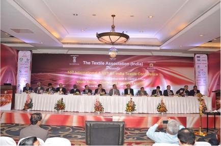 Dignitaries on Dais (L to R): Mr. R. G. Malvankar, Vice Chairman, TAI, Mumbai Unit, Mr. V. C. Gupte, Chairman, TAI, Mumbai Unit, Mr. Rajesh Balakrishnan, Vice President, TAI, Mumbai Unit, Dr. P. R. Roy, Past President, TAI, Mr. C. Bose, President, TAI, Mumbai Unit, Mr. Dilip Jiwrajka, Managing Director, Alok Industries Ltd., Mr. D. R. Mehta, National President, TAI, Chief Guest Mr. A. B. Joshi, Textile Commissioner, Ministry of Textiles, Govt. of India, Mr. R. D. Udeshi, President – Polyester Chain, Reliance Industries Ltd., Mr. R. S. Bachkaniwala, Chairman, India ITME Society, Dr. Anil Gupta, National Vice President, TAI, Mr. K. D. Sanghvi, Chairman, TAI, Mr. Arvind Sinha, Conference Advisor, and Mr. V. D. Zope, Hon. Gen. Secretary, TAI.