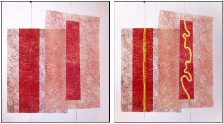 "Figs : 3a, 3b. ""Sensory Screen,"" 2003. Before and after the colour change effect takes place. Photo © Zane Berzina"