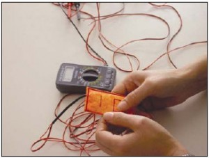 Fig. 6 : Flexible textile switch, developed in collaboration with TITV, Germany, 2005. Photo © Zane Berzina