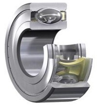 SKF Energy efficient bearing In an SKF energy-efficient bearing, friction is reduced by optimized internal geometry, unique lubricant, and cage design. Shields protect the friction-reducing features.