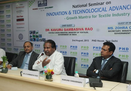 The Union Minister for Textiles, Dr. Kavuru Sambasiva Rao addressing the National Seminar on Innovation & Technological Advancements – Growth Mantra for Textile Industry, in New Delhi on August 02, 2013.