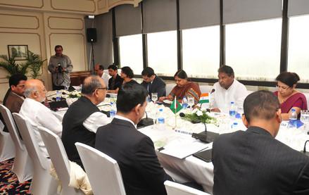 Dr. Kavuru Sambasiva Rao and Mr. Abdul Latif Siddique, at the delegation level talks, in New Delhi on August 19, 2013.