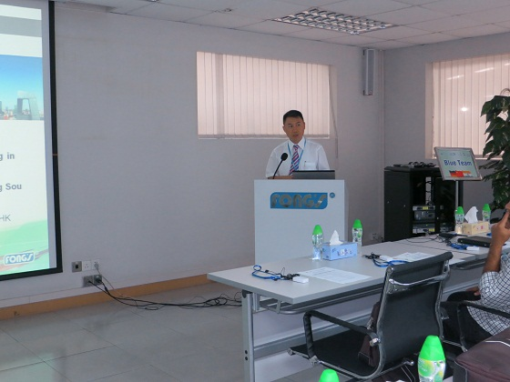 Mr. Walter Leung, Sales Director of FONG'S is seen here giving a corporate update about FONG'S Group.