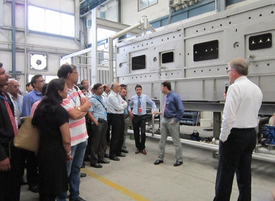 Mr. Adam Jozwik, Sales Director of FONG'S Europe, guiding the group of guests in GOLLER plant.