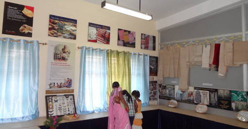 A view of the museum of vanya silk related products with technical charts at the Central Muga Eri Research & Training Institute at Lahdoigarh, Jorhat