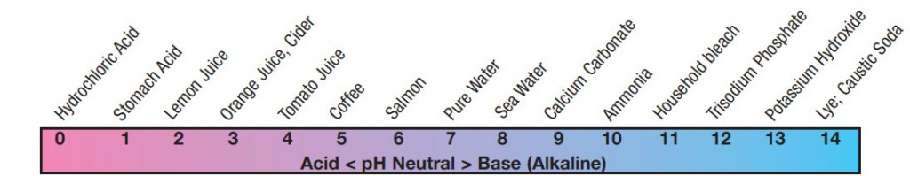 The pH scale shows the acid or alakine level of various common materials.