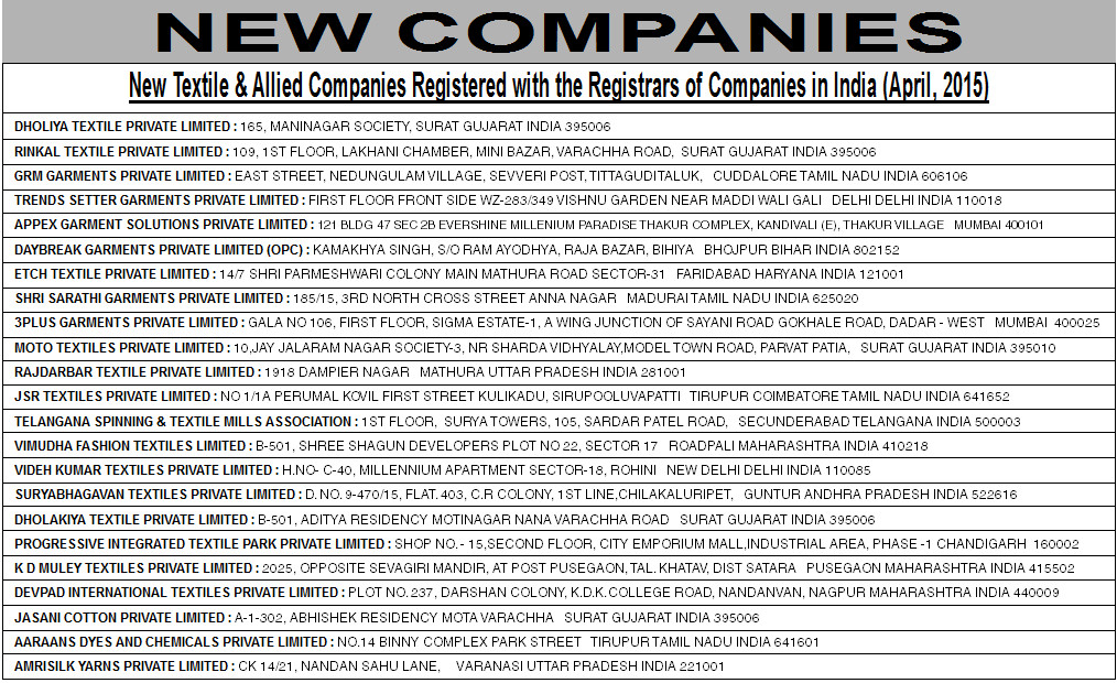 New Textile & Allied Companies Registered with the Registrars of Companies in India (April, 2015)