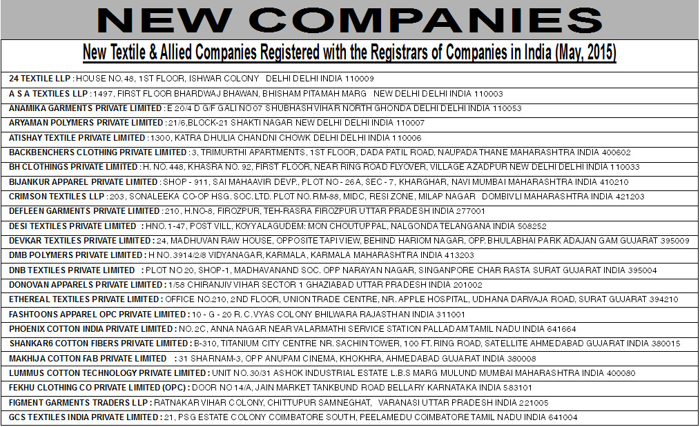 New Textile & Allied Companies Registered with the Registrars of Companies in India (May, 2015)