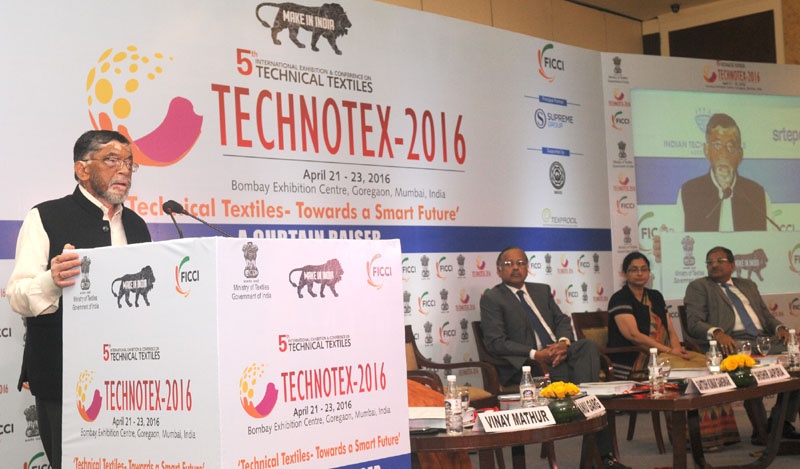 "The Minister of State for Textiles (Independent Charge), Shri Santosh Kumar Gangwar addressing at the Curtain Raiser event of Technotex 2016 ""Technical Textiles – Towards a Smart Future"", in New Delhi on January 29, 2016."