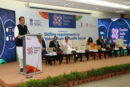 "Union Minister for Skill Development and Entrepreneurship, Shri Rajiv Pratap Rudy, who chaired the session on ""Skilling Requirements in High Value Chain in Textiles Sector"", speaking on the occasion."