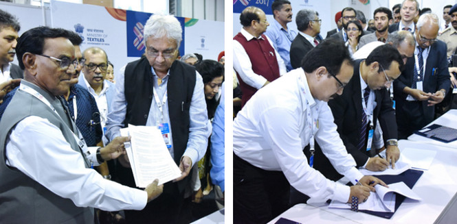Signing of MoUs in full swing at Indian Textiles 2017.