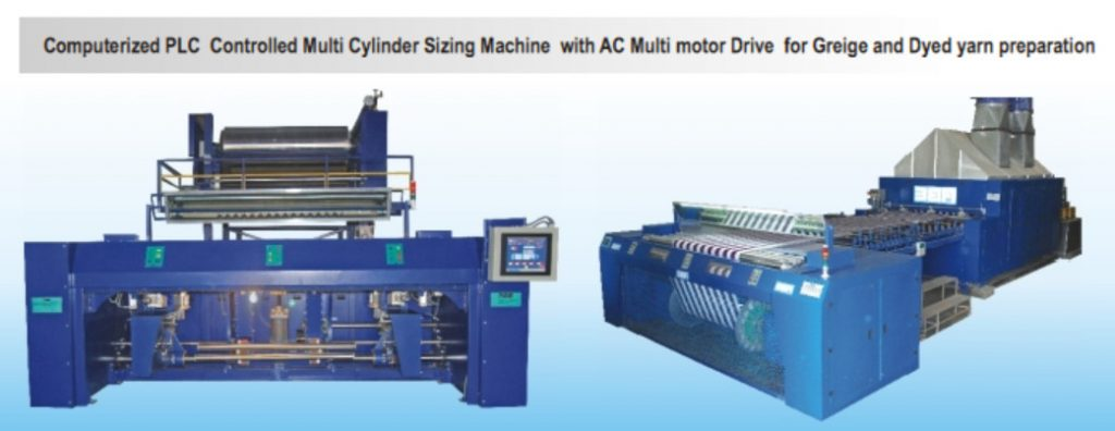Computerized PLC Controlled Multi Cylinder Sizing Machine with AC Multi motor Drive for Greige and Dyed yarn preparation