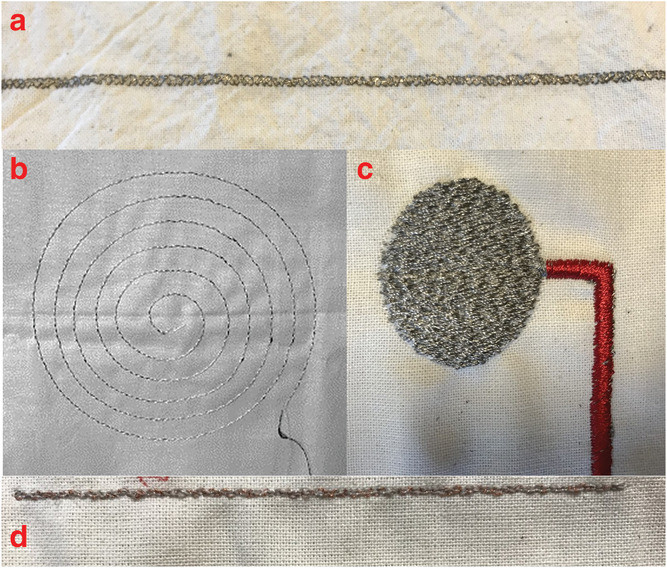 Conductive yarns can be embroidered