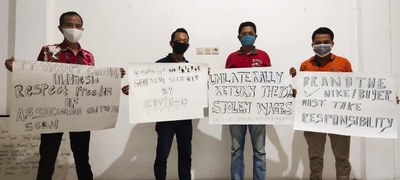 Indonesian workers at Nike supplier Victory Ching Luh protesting against wage cuts during the pandemic