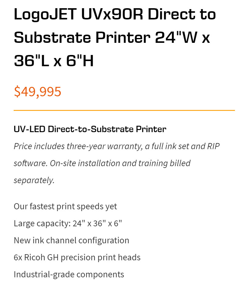 UV-LED Direct-to-Substrate Printer