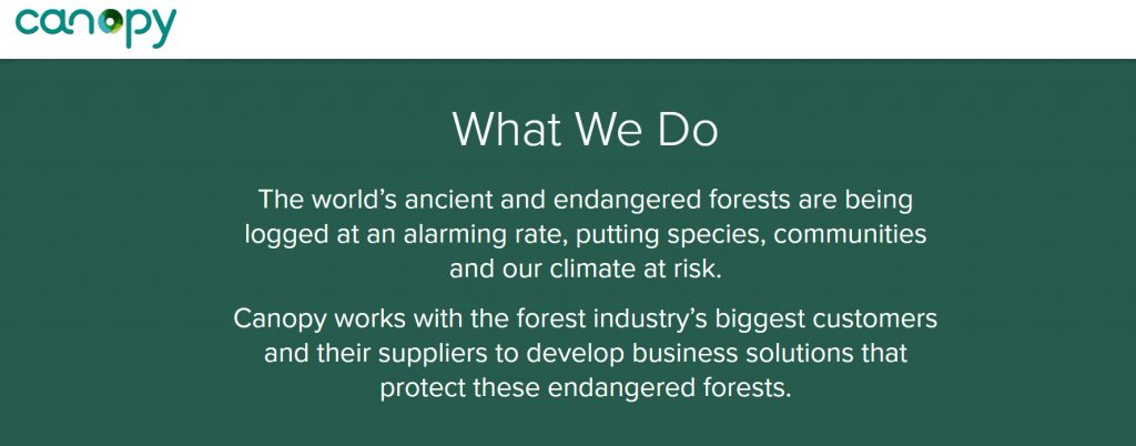Canopy works with the forest industry