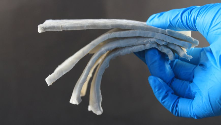 A sample of the electromagnetic shielding material made by Empa – a composite of cellulose nanofibres and silver nanowires. Image Empa