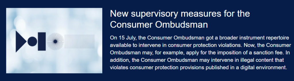 New supervisory measures for the Consumer Ombudsman