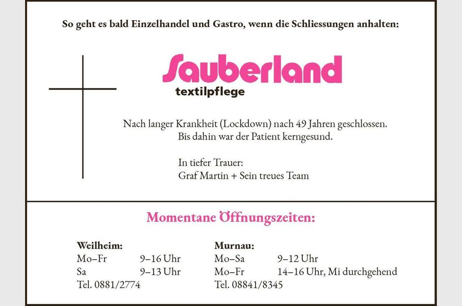 Martin Graf posted this obituary notice in the Weilheimer Tagblatt for his company, Sauberland Textilpflege