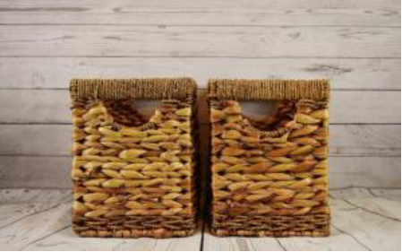 Woven baskets made from water hyacinth